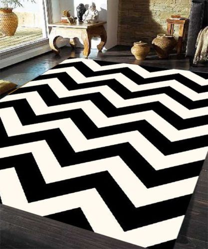 Black White Zig Zag Chevron Moroccan Plush Modern Floor Rug Carpet   Black  And White Chevron