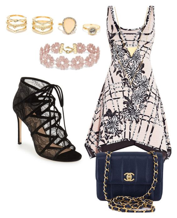 """Untitled #29"" by breeanakelley on Polyvore featuring Hervé Léger, Pour La Victoire, Chanel, LULUS and BaubleBar"