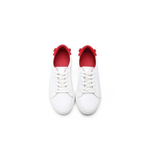 Yoins White Casual Leather Look Lace-up Sneakers with Red Back Part (€41) ❤ liked on Polyvore featuring shoes, sneakers, red white shoes, red shoes, white lace up shoes, lacing sneakers and white trainers
