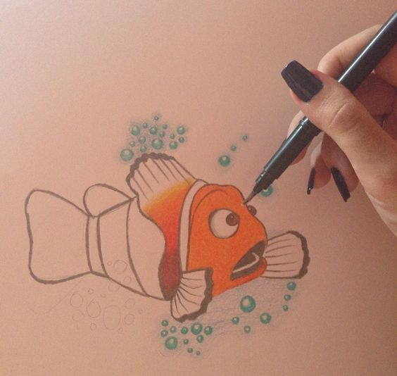 Colouring Nemo Fish handmade crayon drawing BY me 2014. Suzanna Paulla Bomfim