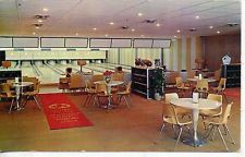 HOLLISTER MISSOURI PLEASURE BOWL BOWLING ALLEY INTERIOR VINTAGE POSTCARD MO.
