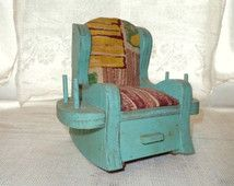 Handmade Pin Cushion Rocking Chair- Old folk Art Wood Rocking Chair Pin Cushion-Thread Holder- Wooden- Retro Sewing Notion Collectible-Aqua