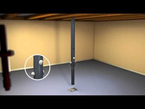 Adjustable Jack Post Installation Video The Akron Products Company Flooring Basement Flooring Floor Jack