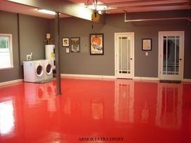 Painted cement floor. Love the colors for the basement/ laundry room.  This is what you should do to the floor in your laundry room Janie.
