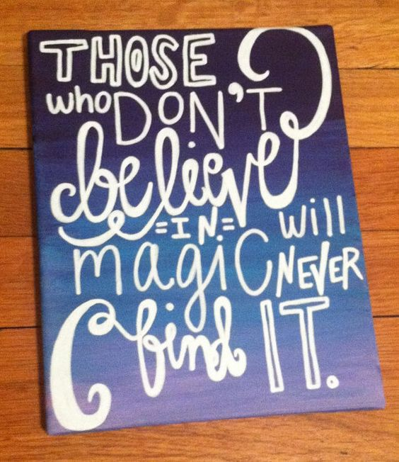 Cute Quotes On Canvas: Canvas Painting Believe In Magic Quote By Kalligraphy On