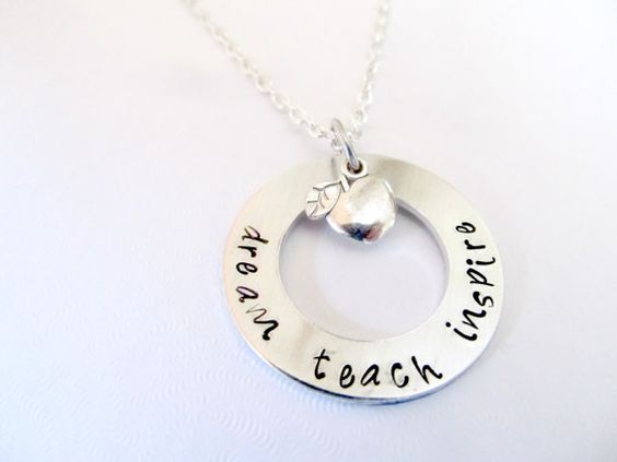 Dream Teach Inspire Teacher's Necklace - Gift for teacher, end of school year, christmas, holiday gift - Hand Stamped Jewelry