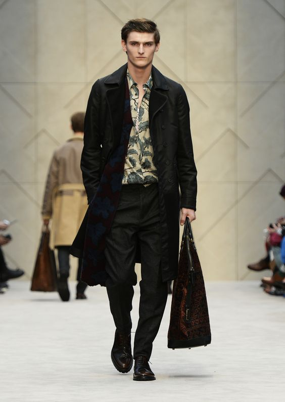 Reversible contrast topcoat with a dark plum leaf design scarf and The St Ives bag in textured rug