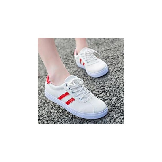 Striped Lace Up Sneakers ($27) ❤ liked on Polyvore featuring shoes, sneakers, footware, famous footwear, lacing sneakers, black trainers and laced sneakers
