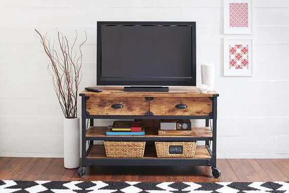 Better Homes And Gardens Rustic Country Antiqued Black Pine Panel Tv Stand For Tvs Up To 52: home garden television