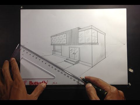 Architectural How To Draw A Simple Modern House In 2 Point Perspective 5 Youtube House Design Drawing Simple House Drawing Architecture Design Sketch