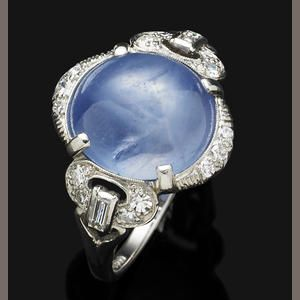 An Art Deco star sapphire and diamond ring, 1920s