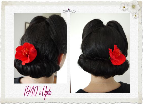 40s updo, victory rolls and wide chignon