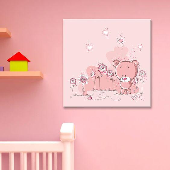 Tableau ourson rose adorable petit nounours timide dans for Tableau pour chambre d enfant