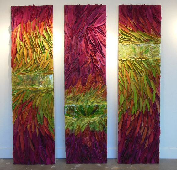 Priscilla Robinson's painted handmade paper and fused glass panels