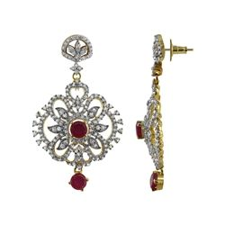 22k Gold Plated Ruby Stones with Studded CZ Post Back Earrings