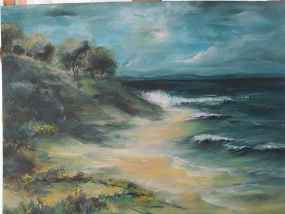 Coastal Waters. ~~I have revamped this seascape painting, I am much more happier with the end result.
