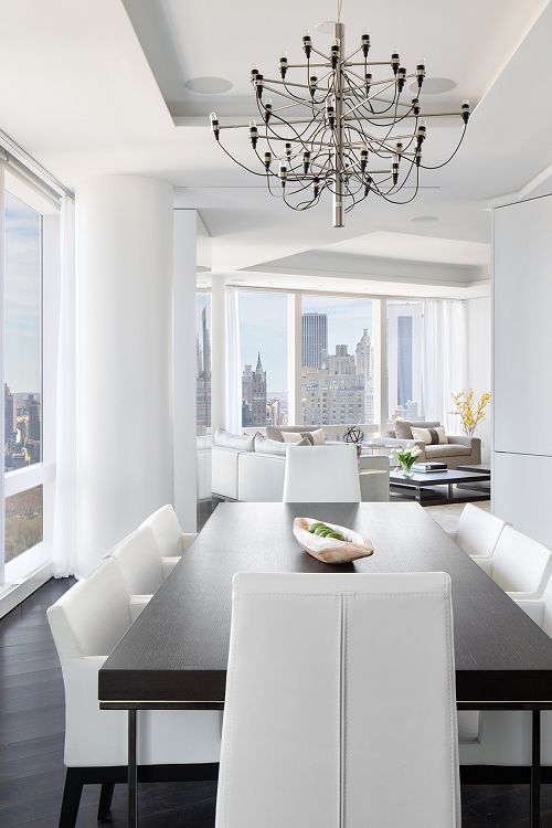 Penthouses white interior design and veronica on pinterest - Modern luxury dining room ...