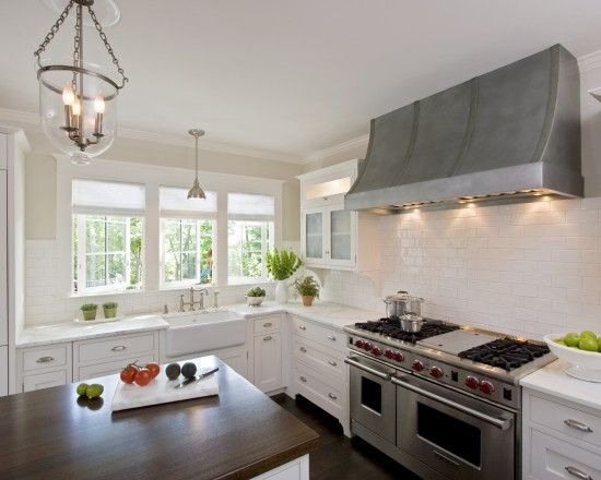 White Kitchens Design with great zinc hood