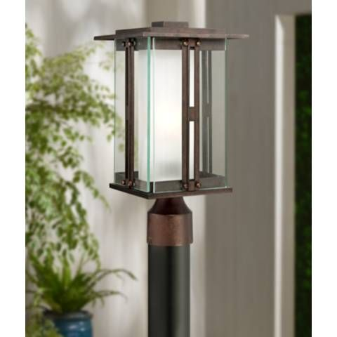 Fallbrook Collection 15 3 4 High Bronze Outdoor Post Light 4m770 Lamps Plus With Images Outdoor Post Lights Post Lights Outdoor Light Fixtures