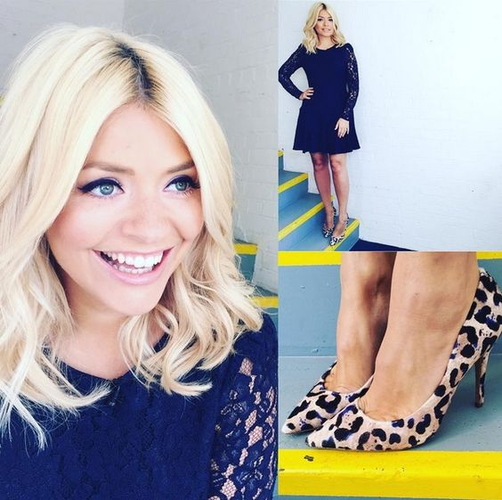 Holly Willoughby in our grey & purple leopard print Charos court shoe