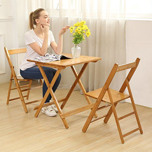 Unicoo Bamboo Square Folding Table With Two Folding Chairs Outdoor And Indoor Folding Bistro Bistro Set Indoor Folding Chair Outdoor Wicker Patio Furniture