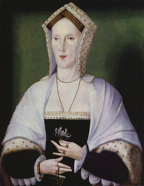 Unknown woman, formerly known as Margaret Pole, Countess of Salisbury, by unknown artist, c 1535.    This portrait was given to London's  National Portrait Gallery in 1931.