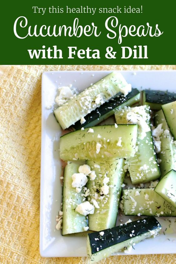 These Cucumber Spears with Feta and Dill make for a fast, simple and delicious low calorie snack.