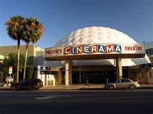 """Cinerama Dome Theater, Los Angeles, built 1963: """"The Cinerama Dome opened at 6360 Sunset Blvd in 1963 as a prototype for what was intended to be hundreds of geodesic dome theatres, but the others were never built. The 900 seat theatre has a 32 by 86 foot curved screen."""""""