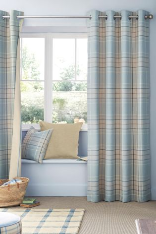 $150.20 = 99 PDS Buy Blue Linen Look Check Eyelet Curtains from ...
