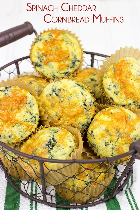 with spinach and cheese, these Spinach Cheddar Cornbread Muffins ...