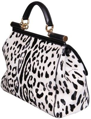 Black and white leopard print purse