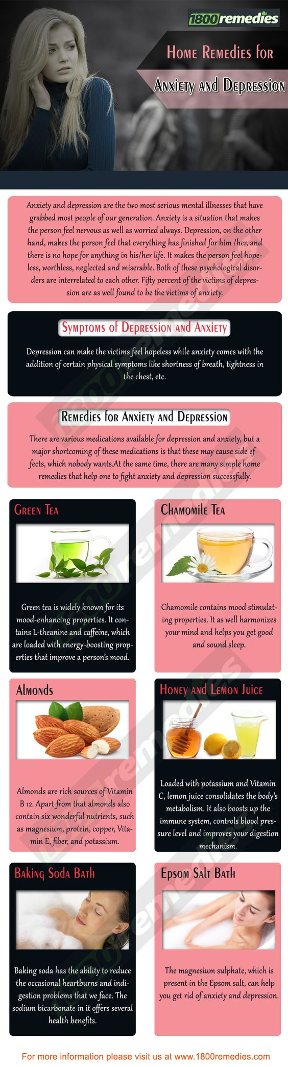There are many simple home remedies that help one to fight anxiety and depression successfully. Let's have a look at some of the home remedies for anxiety and depression: