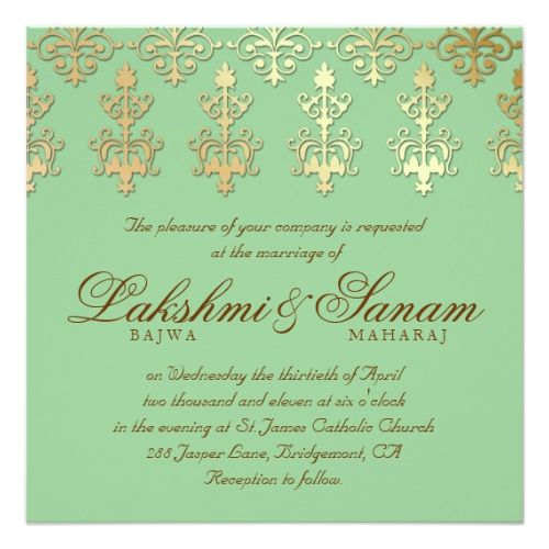 Indian Wedding Invite Damask Gold Spring Green Zazzle Com Indian Wedding Invitations Indian Wedding Invitation Cards Printable Wedding Invitations Vintage