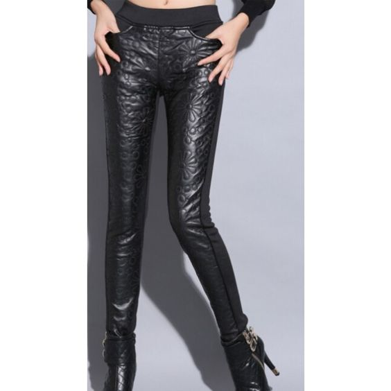 PU Leather Patchwork Down Wadded Women's Pencil Pants