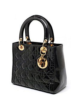 Dior Patent Leather Quilted Tote in Black