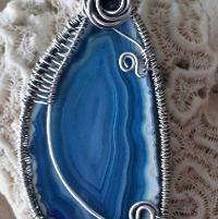 Jewelry: Blue Agate in SS weave Bezel