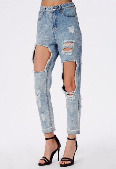 Extreme Rip Mom Jean Bleached Blue - Jeans - Missguided ...
