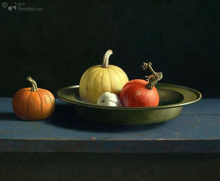 Still life with gourds Henk Helmantel 73.0 x 90.0 cm - Oil on panel - 2008