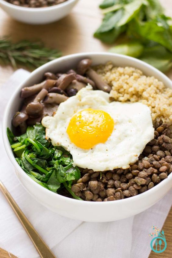 warm and comforting QUINOA BOWL with hearty French Lentils and ...