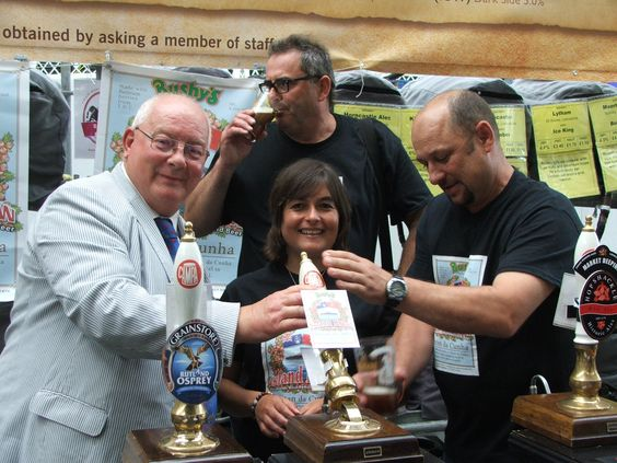 Wear the jumpers, eat the lobster, now drink the beer! Tristan da Cunha has its own very special ale. Sot it was all hands to the pump to launch the Island Brew - made from Tristan rubrum berries infused into a Bushy's Ale on the Isle of Man - at CAMRA's Great British Beer Festival. From left: Chris Bates, Bushy's founder Martin Brunnschweiler on quality control duties, Tristan Tourism Development Officer Dawn Repetto and Tristan's Head of Electrical and Plumbing, Robin Repetto.