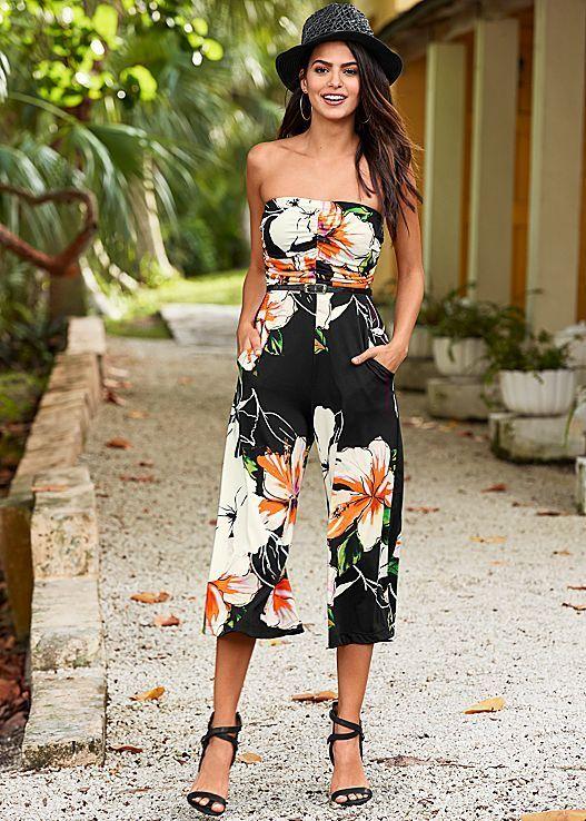 Island style never looked better! Venus floral print jumpsuit with Venus raffia detail heel.