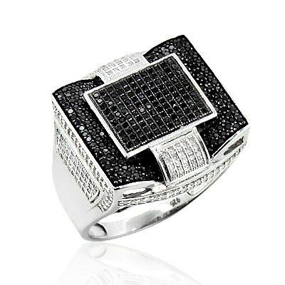 Mens Black Diamond Ring in Sterling Silver 1.30ct