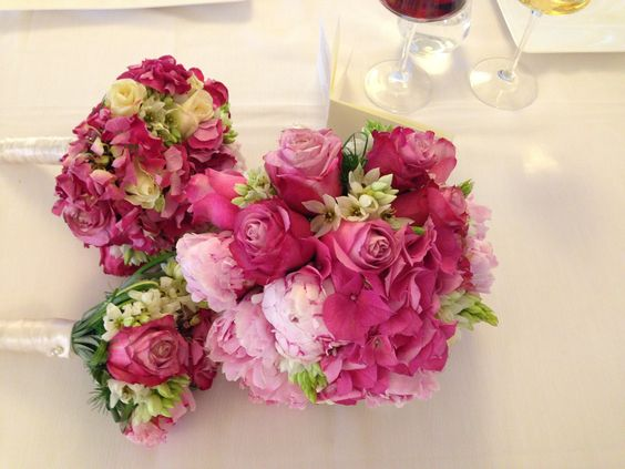 Beautiful Pink Wedding Bouquet. Roses, Peonies and Hydrangea's.