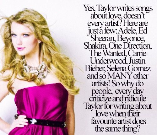 I mean who wants to listen to songs that are fake? Which they are if the artist hasn't even experienced these things. I don't understand why Tay gets known for doing this when almost every great artist does:p
