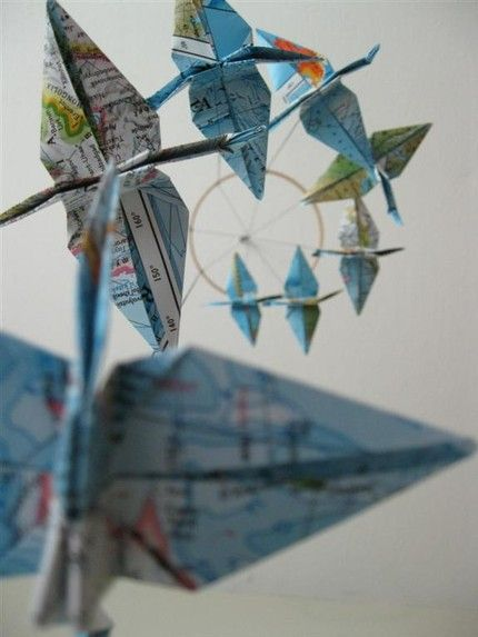 Around the world origami crane mobile.