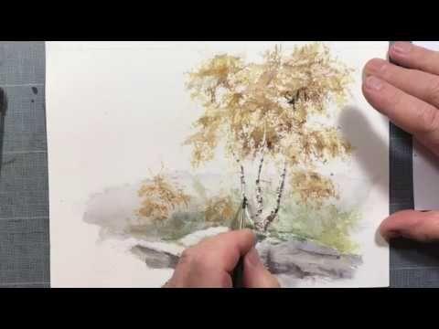 Peindre Des Bouleaux Youtube Tutoriels Aquarelles Arbres Peints