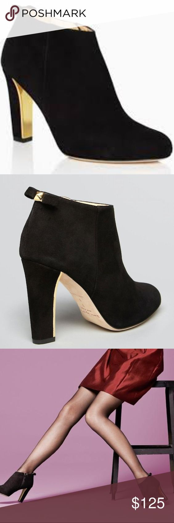 Kate Spade Black Suede Ankle Booties Excellent used condition. Used twice. Great for skirts dresses or jeans and pants. Cute gold accents!! kate spade Shoes Ankle Boots & Booties