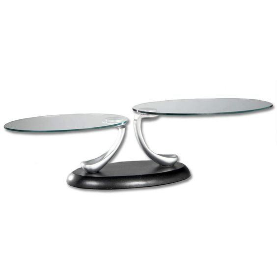 Swivel Oval Glass Coffee Table - Black Base
