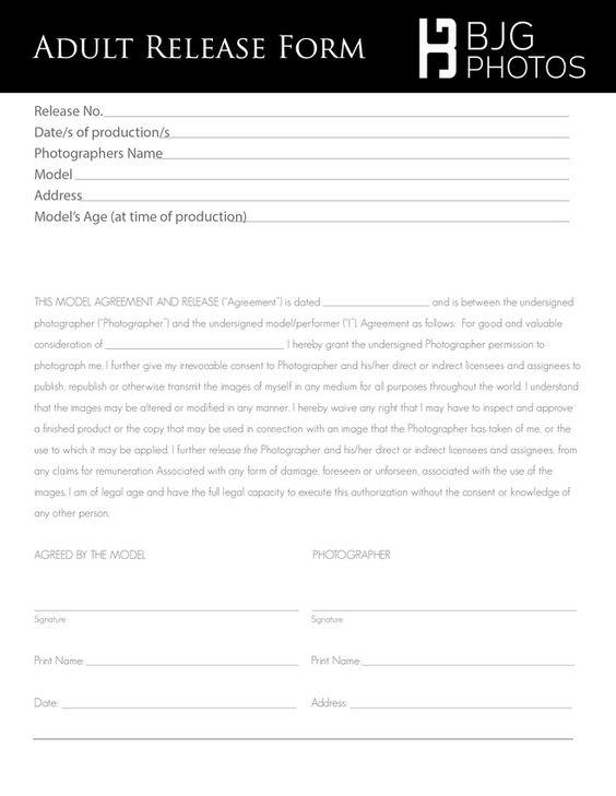 Adult release form Photo Session Preperation Pinterest Blog - release agreement