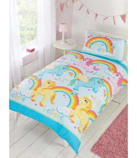This Unicorns Double Duvet Cover And Pillowcase Set Features A Collection Of Colourful Unicorns In T Single Duvet Cover Double Duvet Covers Unicorn Duvet Cover